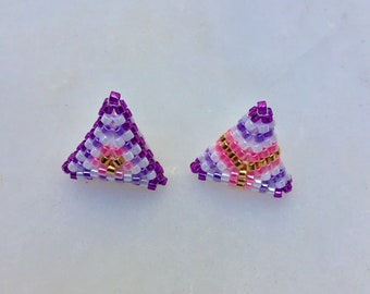 Gift for mom, Mothers day, Asymmetrical Beaded Post Earrings, Mismatched Earrings, Triangle Stripes Stud Earrings