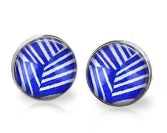 Blue Geo Stud Back Glass Picture Earrings