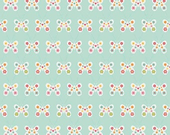 Riley Blake Floral Butterfly- Garden Girl - Mint/Cotton/ Fabrics/ Sewing/ Quilting