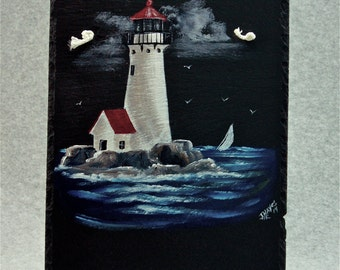 Painted Slate - Lighthouse *Personalized No Charge*