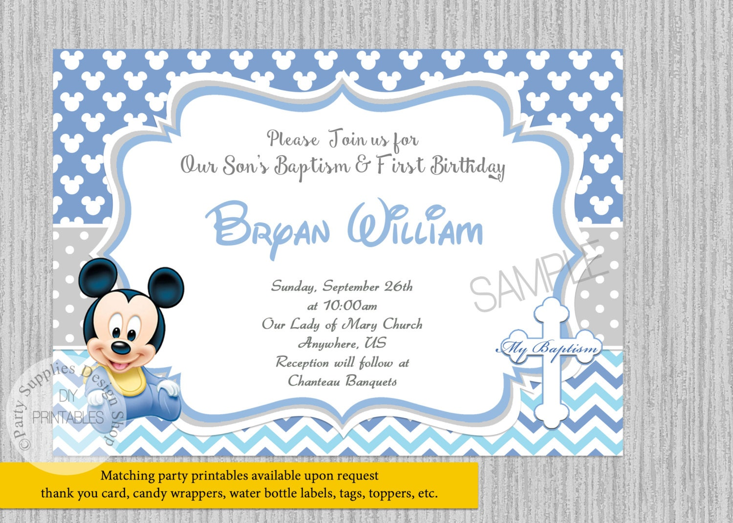 Printed or digital baby mickey mouse 1st birthday invitations zoom filmwisefo Images