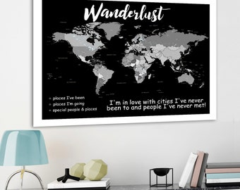 Push pin bucket list etsy wanderlust world map grayscale personalised world map shades of grey world map country and city labels diy push pin map gift for him gumiabroncs Gallery