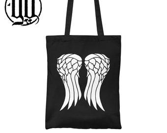 Wings Tote Bag - White on Black