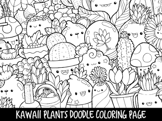 Plants Doodle Coloring Page Printable CuteKawaii Coloring