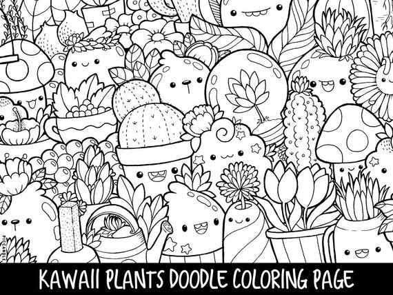 Plants doodle coloring page printable cute kawaii coloring
