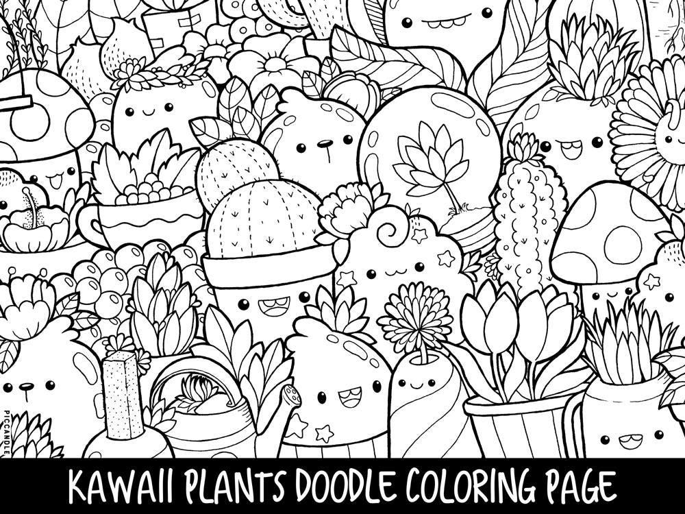 Plants Doodle Coloring Page Printable Cute/Kawaii Coloring