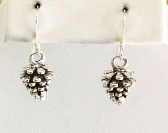 Sterling Silver Pine Cone Earrings