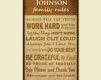 Personalized Family Rules/Distressed Subway Art/Family Name - Two Color - 12 x 16