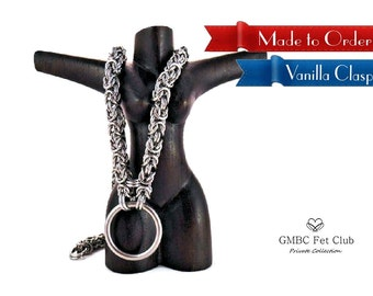 VANILLA Clasped Steel Byzantine O Ring Collar - Made to Order