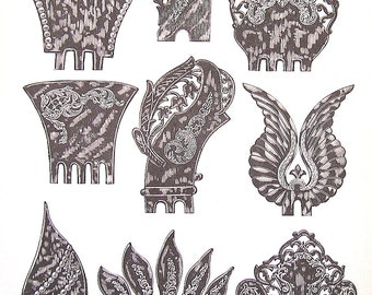 Hair Pins, Hair Combs - 1968 Vintage Book Print - Victorian Americana Black and White 2 Sided Page