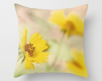 Yellow Flower Pillow Cover - Photo Pillow Cover - Abstract photography - Nature Throw Pillow - Yellow Home Decor - Bright Yellow