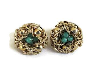 Gold Glitter Thread & Green Beads Bird Nest Earrings Vintage Signed Japan