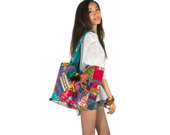 Colorful Shoulder Bag, Hippie Bag, Beach Bag, Large Tote, Canvas Bag, Gift For Her, Women Purse