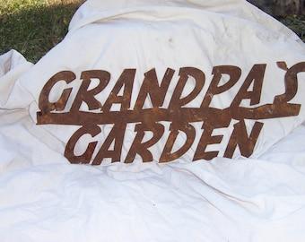 Metal Grandpa's Garden stake in natural rust, metal garden sign, metal yard art, custom metal sign