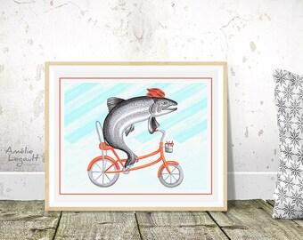 Affiche truite à bicyclette, poisson à vélo avec son casque, 5 x 7, 8 x 10 et 11 x 14
