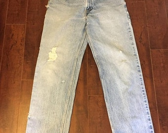 Closing Shop SALE LEVIS 550 Vintage 90s zip up denim high waist jeans Waist W 33   relaxed fit tapered leg mom jeans