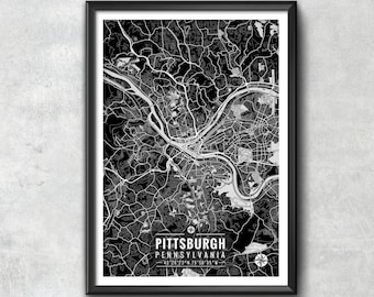 PITTSBURGH Pennsylvania Map with Coordinates, Pittsburgh Wall Art, Pittsburgh Map, Map Art, Map Print, Pittsburgh Print, Pittsburgh Art, Map