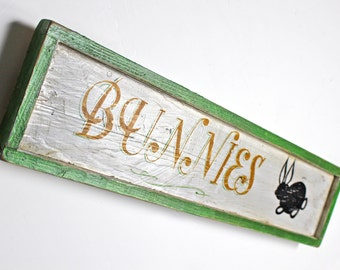 """Vintage Hand Painted """"Bunnies"""" Wood Sign"""
