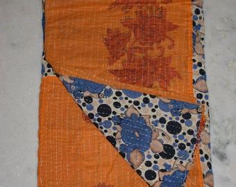Exquisite Collectors Item!! Reversible vintage kantha quilt from India / throw/ coverlet/ boho/ hippie/ sari quilt/gudri/ bedding deco 2181