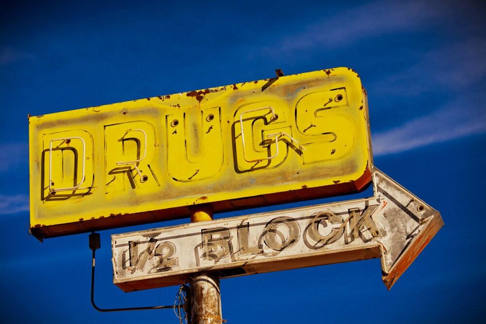 Drugs 1/2 Block Neon Vintage Sign Route 66 Tucumcari New