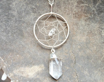 Silver dreamcatcher necklace silver dipped crystal quartz point necklace silver dream catcher necklace bohemian jewelry