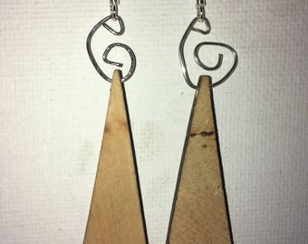 Spiraled and Wood earrings