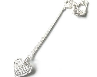 Lace Pendant - Lace Heart - Sterling Silver - Cast from Real Lace