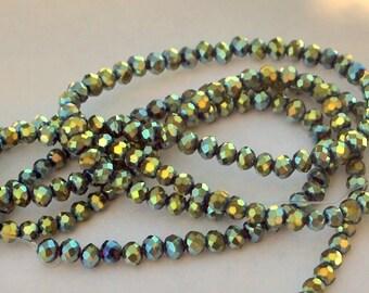 50 pcs 4x3mm Metallic Blue and Moss Green Rondelle Glass Beads  MBMG