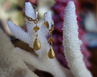 Gold briolette drop earrings with heart lever back