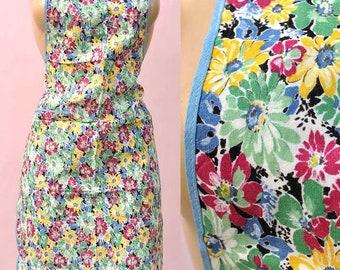 Vintage 40s Floral Crisp Cotton Full Apron • Pinafore