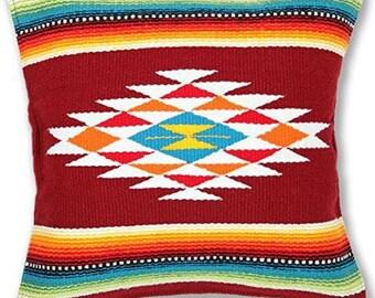 Native American Geometric Accent Pillow // Rust