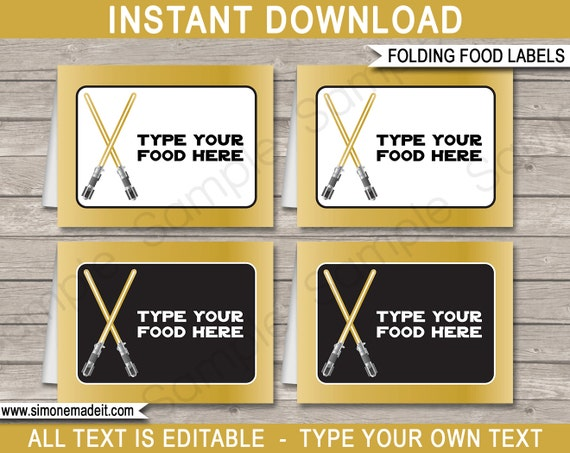 Gold Star Wars Food Labels Buffet Tags Tent Cards Party
