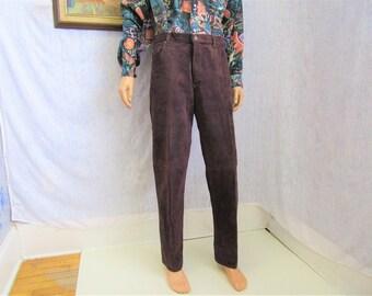 "90s 34"" Skott's Suede Leather Jeans Pants Men's Oxblood Brown ""Washable"""
