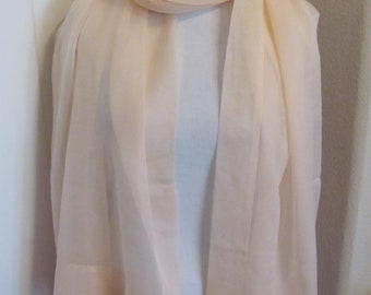 """Scarf Wow!! Solid Peach Pink Chiffon Silky Scarf // 22"""" x 78"""" Long // Best of the Best"""