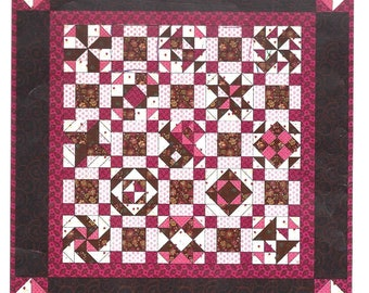 A CHOCOLATE SAMPLER - Scrappy Fabric Quilt Pattern - Pieced - Candy Recipes Included!  - Sampler Blocks - Sweets-  Electronically Delivered