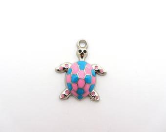 Enamel beads,enamel,turttle pendant,little turttle,enamel turttle,turttle pink and blue