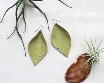 Leather Leaf Statement Earrings - Lime