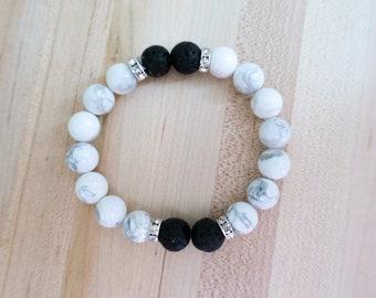 Essential Oil Bracelet   Aromatherapy   Howlite   Lava Rock   Diffuser Bracelet   Beaded Bracelet   Yoga   Gift For Her   Handmade