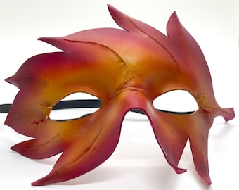 Ren Faire Fall Red Leather Leaf Mask