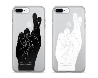 Fingers Crossed | iPhone Case | Cool Phone Case | Clear iPhone Case | Minimalist | Hand Gestures | Funny | iPhone 7 | iPhone 6 Plus Cases