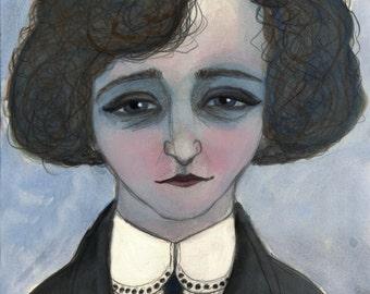 Colette Literary Art Print, Writers Portrait (6x8) French Literature Art, Feminist Writers
