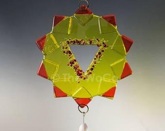 Chakra Three - Manipura - Solar Plexus - Yellow Fused Glass Ornament Suncatcher
