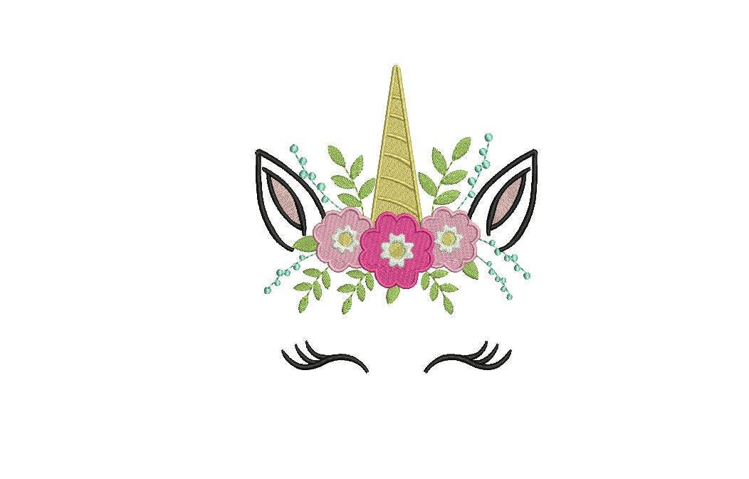 Machine Embroidery Unicorn Face Flowers Machine Embroidery