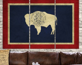 Your State Flag Canvas - 3 panel set. Choose Wyoming or any state. Vintage Look, large Canvas Art perfect to fill your Large Wall
