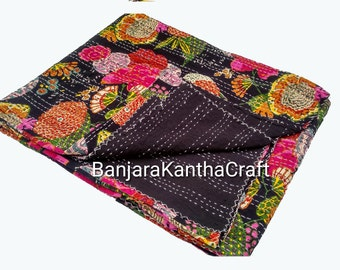Royal Black Cotton Bedspread Kantha Quilt  Bedsheets Bedcover Blanket Throw Baby Quilt Blanket  Queen Size King Size Twin Size for decor