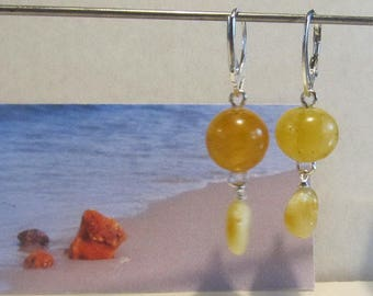 Amber Earrings 4.4 gr. round beads Natural Baltic yellow egg yolk butterscotch polished opaque drops for adult chandelier layered