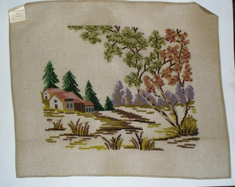 Large Needlepoint Canvas, Country Landscape in Summer, Abstract Landscape, Preworked 24 x 20 Inches