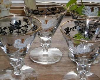 Vintage stemmed glasses with americana theme  Set of 4