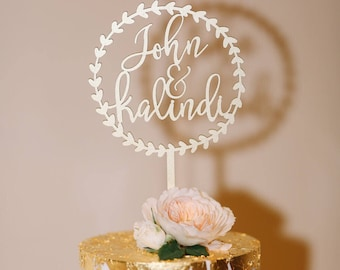 """Personalize Names with Circle Wreath Wedding Cake Topper 5.5"""" inches, Personalized Custom Unique Laser Cut Rustic Toppers by Ngo Creations"""