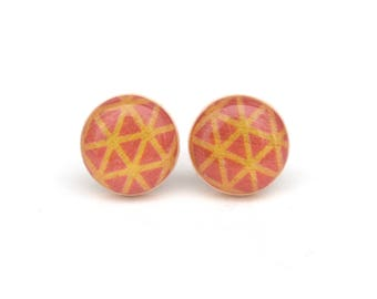 Pink and Orange Stud earrings, Hypoallergenic earrings, Gift for her